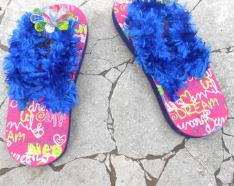 Girls Flip Flops - Decorated Flip Flops - Pink Blue Flip flops - Handmade Flip Flops - Size 13 - Free US Shipping