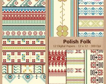 Digital Scrapbook Paper Pack - VINTAGE POLISH FOLK - Instant Download