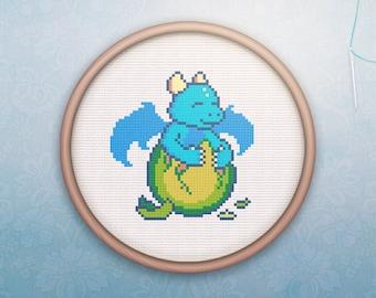 Kawaii Cross Stitch • Modern Easter Dragon Cross Stitch Pattern • Modern & Geeky Hoop Art • Easy Counted Cross Stitch PDF • XStitch Pattern