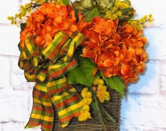 Summer Door Basket, Fall Door Basket, Summer through Fall Decor,  Hydrangea Wreath, Rustic Wreath, Rustic Decor,