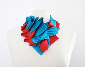 Aster Necktie Scarf in Color Block - Red + Teal