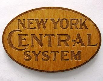 New York Central Railroad Logo Wooden Fridge Magnet - Black Text