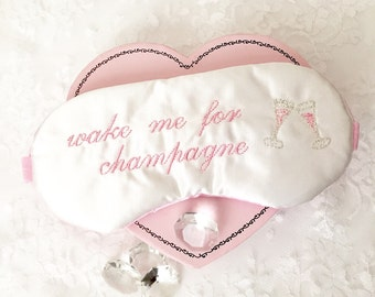 WAKE ME for Champagne sleep mask with adjustable elastic