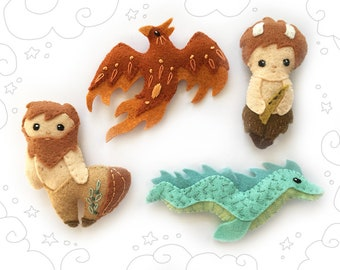 Felt Animals Plush Sewing Patterns, Mythical Creatures, Plush Pattern Set 3, PDF Download, Mobile, Felt Ornaments, Fantasy, Phoenix, Faun