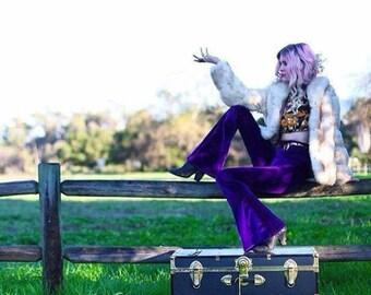 Solid Velvet Bells, High Waisted, Flares, Bell Bottoms, festival Wear, Boho, Hippie, Retro
