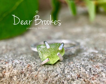 Raw Peridot Ring, Organic Ring, August Birthstone