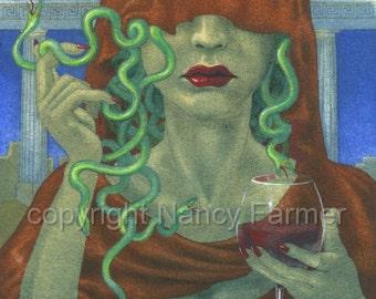 Medusa, Veiled - art print - portrait of the classic Femme Fatalle