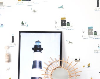 Wall Decal - Coastal Towns - Nautical Wall Decal - Muted - Wall Sticker - Room Decor