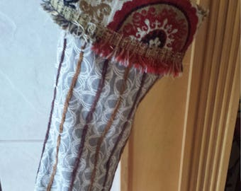 OOAK Handmade Fabric Christmas Stocking. Victorian, industrial, Steampunk, Shabby Chic.