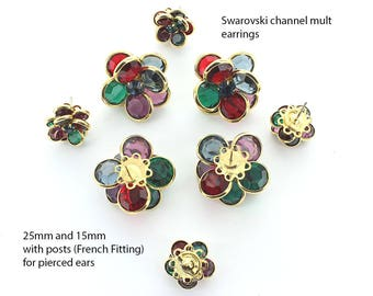 Swarovski channel cluster earrings in sizes 25x25mm and 15x15mm.  Price is for 1 pair.