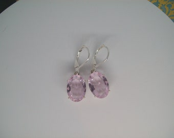 PERFECT SIZE - Baby Pink Crystal Gemstone Earrings in 925 Sterling Silver 14x10mm oval