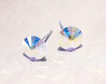 Rainbow stud earrings, Swarovski Crystal Stud earrings, AB stud earrings, rainbow AB earrings, clear stone earrings, 6mm, 8mm