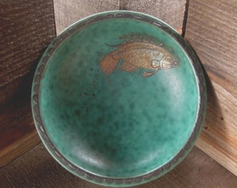 Gustavsberg Argenta Dish, Fish with Bubbles, Turquoise with Silver Overlay, Vintage Art Pottery from Sweden, FREE SHIPPING