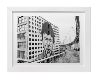Street Art Photography, Mural by JR in New York City, Black and White Print, NYC Landscape Photography, New York Print, Urban Art