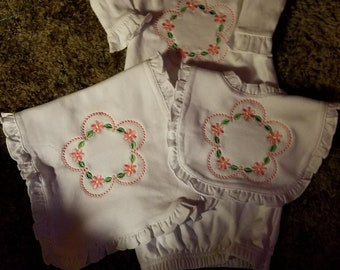 Floral Frame on bib, burp pad, & gown-
