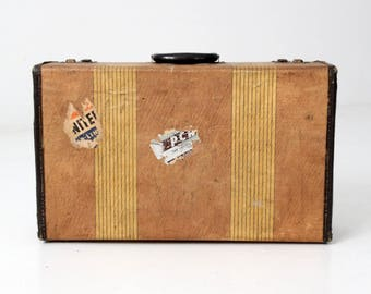 vintage striped suitcase, 1940s luggage