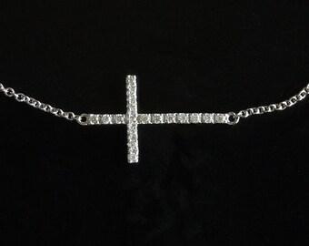 Kelly Diamond Sideways Cross Necklace -  Set Center 14kt White Gold