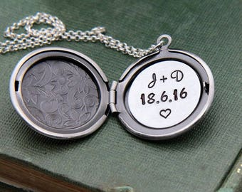 Locket Necklace, Personalized Necklace, Personalized Locket, Initial Necklace, Anniversary Date Necklace, Personalized Gift, Custom Jewelry