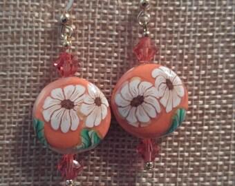 Orange Spring Flower Earrings