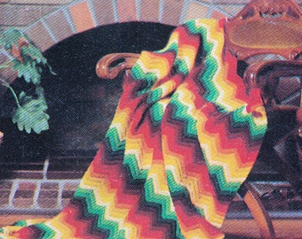 Vintage Crocheted Chevron Design Knee Rug PDF PATTERN DOWNLOAD