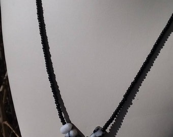 Snowflake obsidian and black bead necklace