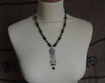 Green and silver pearls necklace, true jade