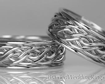 2 Hand Braided Wedding Rings, This Set is solid 14k White Gold. The Bold Set