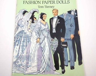 Bride and Groom Fashion Paper Dolls Vintage Dover Paper Doll Book for Children by Tom Tierney