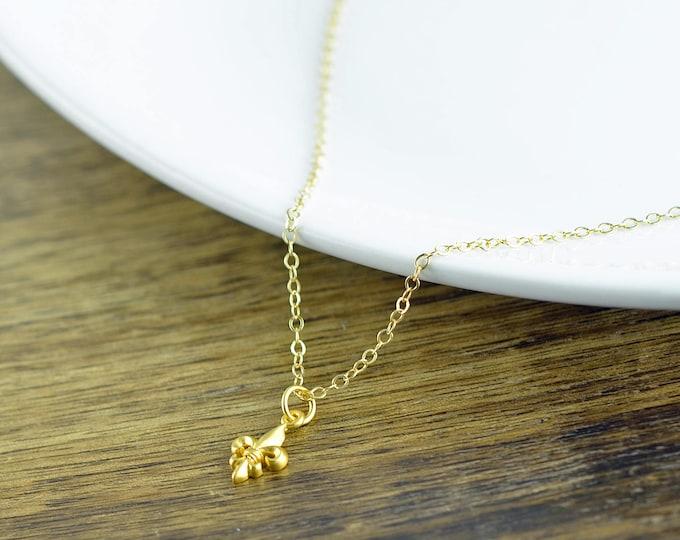 gold fleur de lis - fleur de lis necklace - fleur de lis charm - tiny charm necklace - feur de lis jewelry, gold fleur de lis necklace