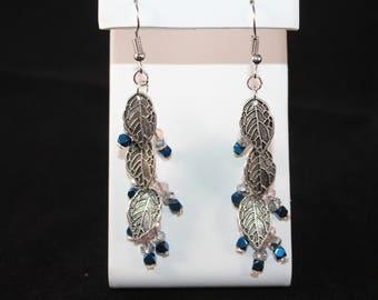 Handmade Silver Leaf Charm Earrings, Hematite Earrings, Faceted Czech Glass, Gemstone  Earrings, Gift for Her  Earrings, Hypoallergenic