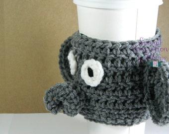 Elephant coffee cozy, elephant cozy, crochet elephant, elephant tea cozy, crochet coffee cozy, coffee cozy, tea cozy, elephant gift