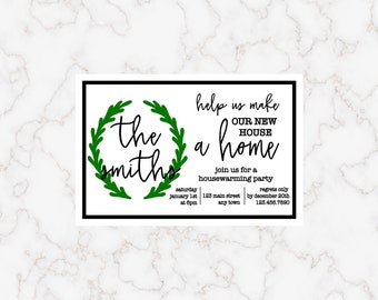 Personalized Housewarming Invitation Post Card with Wreath Printable Download