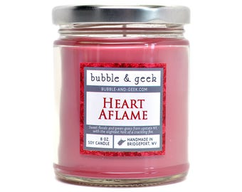 Heart Aflame scented soy candle - 8 oz. jar - floral, grass, fire