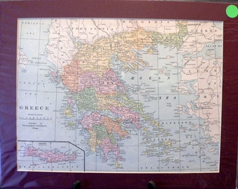 1929 Map of Greece  Matted Vintage Print