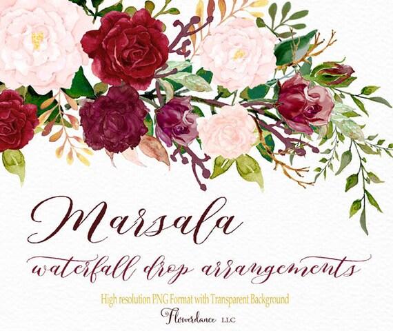 Marsala And Blush Watercolor Clipart Drop Header