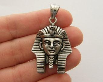 1 Tutankhamen Egyptian pharoah pendant antique silver tone stainless steel WT246
