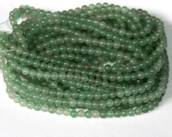 16 in strands of green aventurine round 4mm