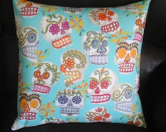 "Mexican Day of the Dead ""Calaveras "" cushion / pillow cover 16 "" × 16 "" print by Alexander Henry"
