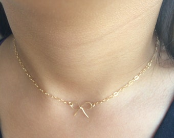 14k Gold Filled Bow chocker necklace, chain gold filled