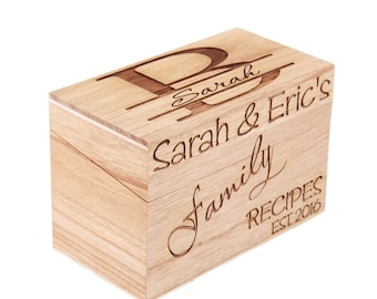 Recipe box etsy monogrammed personalized recipe box custom family recipe box wood box thecheapjerseys Images