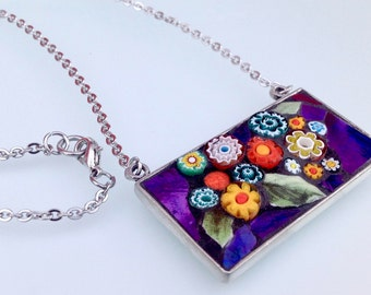 Mosaic Pendant Necklace -  Fancy Floral