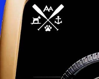 Paddle Arrow Decal Dog Paw Mountain Anchor SUP Kayak Canoe Car Sticker Decal Original Design by Paddling Dogs