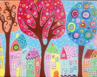Houses through the trees. An acrylic painting on canvas, with vivid colours perfect for hanging in your home. A unique conversation piece.