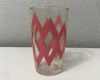 Hazel Atlas Juice Glass Pink Diamond Design