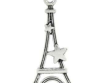 PB156 - Set of 10 Eiffel Tower charms and 29mm brass star