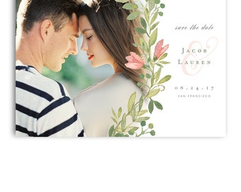 Save The Date Template - Wedding Engagement Announcement Card - For Photographers - Photoshop Required - JACOB & LAUREN - 1388