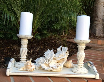 COTTAGE WHITE CENTERPIECE With Wood Candle Holders Candles White Wood Tray Coral And Shells Chic Beach Cottage Shabby Chic Home Decor