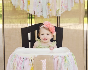 High Chair Banner. Girl's First Birthday Party Supplies.  Shabby Chic High Chair Banner with Burlap Flag.  Custom Color Birthday Banner