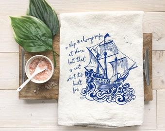 Tea Towel - Ship Towel Pirate Ship Nautical Towel Nautical Tea Towel Coastal Decor Nautical Decor Kitchen Towel Summer Decor Beach Decor
