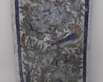 Persian tile with picture of bird on branch